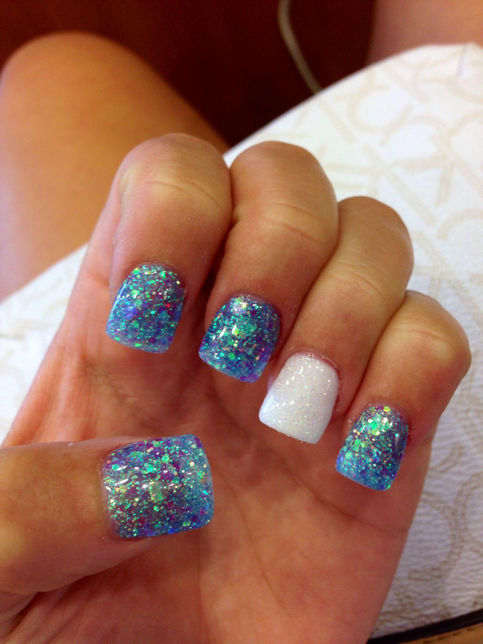 Opalescent Blue Nails White White Glitter Accent Sparkle Nails Glitter Accent Nails Mermaid Nails