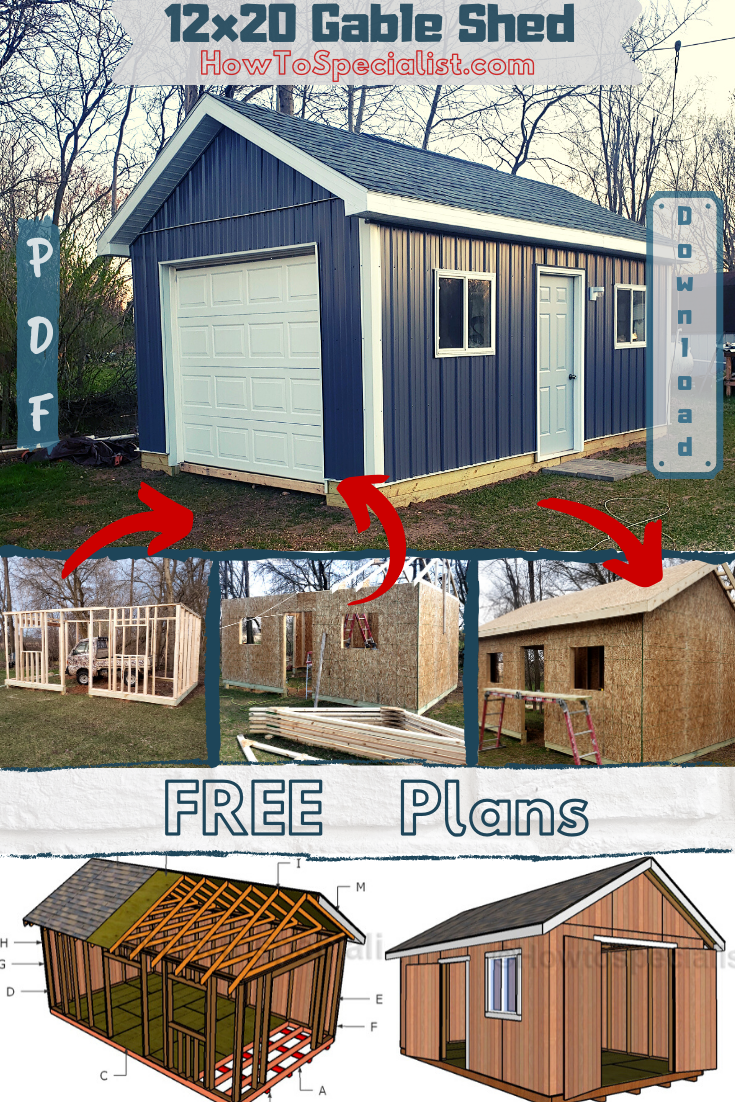 12x20 Shed Plans Free Howtospecialist How To Build Step By Step Diy Plans Building A Shed Backyard Sheds Shed