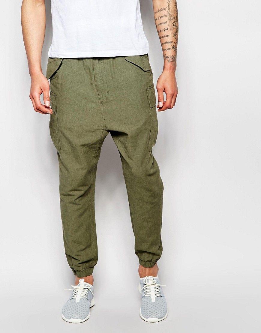 Image 1 of ASOS Slim Drop Crotch Joggers In Khaki Textured Fabric