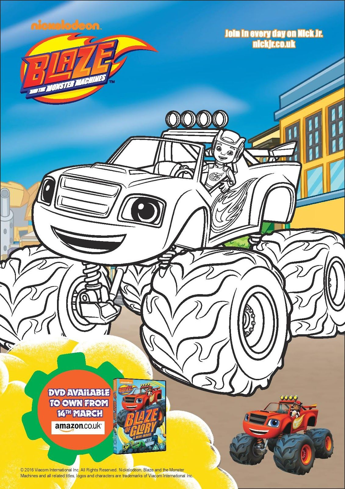 Free Printable Colouring Sheets Of Blaze Darington And Pickle From The Monster MachinesBlaze Glory