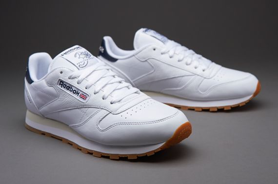 03bc9596333 Reebok Classic Leather Int - Mens Select Footwear - White-Paperwhite-Athletic  Navy-Gum
