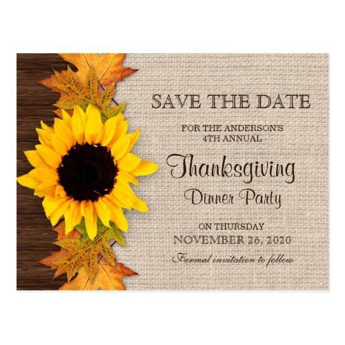 Thanksgiving Dinner Party Invitation Save The Date Postcard