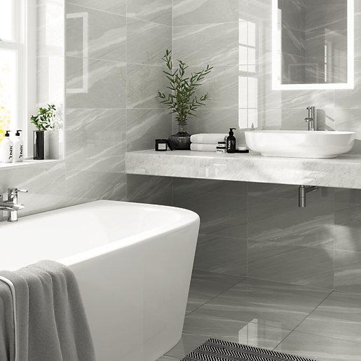 Wickes Olympia Grey Polished Sandstone Porcelain Wall Floor Tile 600 X 300mm Wickes Co Uk In 2020 Wickes Tile Floor Flooring