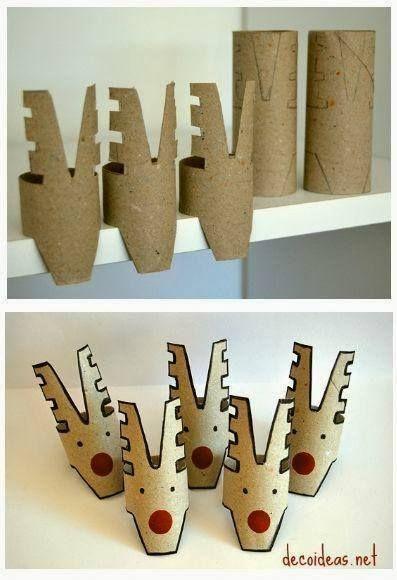 Recyclage de rouleau papier en déco de Noël http://www.homelisty.com/diy-noel-49-bricolages-de-noel-a-faire-soi-meme-faciles/: