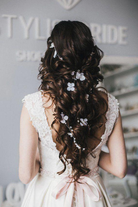 Wedding BOHO 2020 flowers hair vine, Rustic Bridal hair crystal vine, Bridal hair accessories,  Wedding hairpiece with flowers