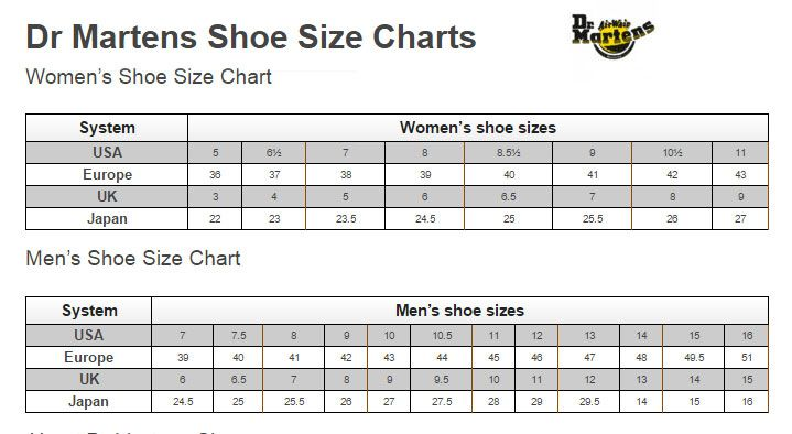 This Is Dr Martens Official Shoe Size Charts For Women And Men