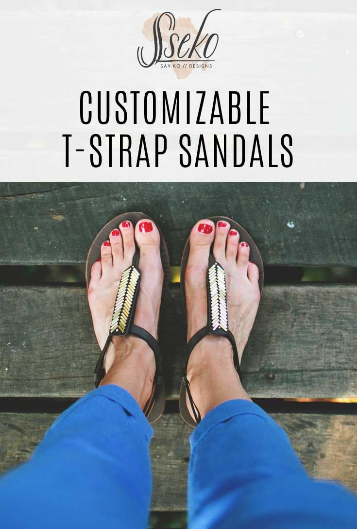 Customize your own pair of sandals by choosing your T-Strap accent, whether it's leather or beaded. Great for mix and matching with outfits! Sandals are 25% off until July 8, 2015!