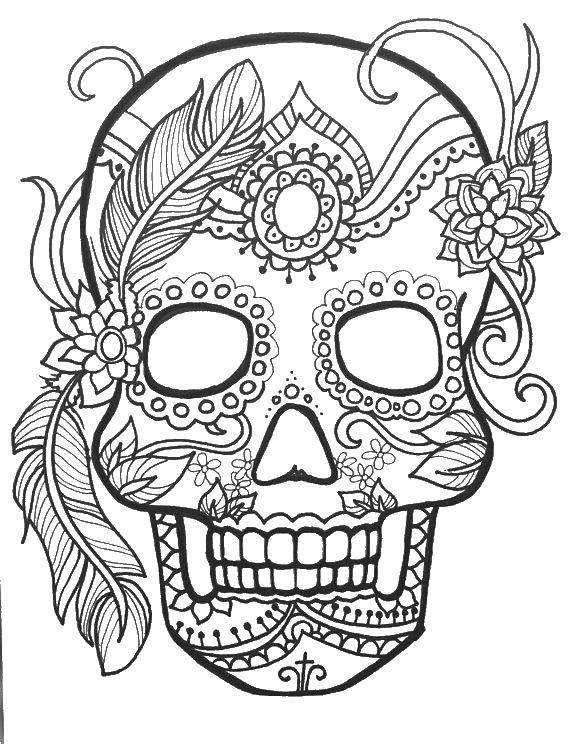 Раскраска Череп с узорами и перьями ,череп, узоры, цветы ...