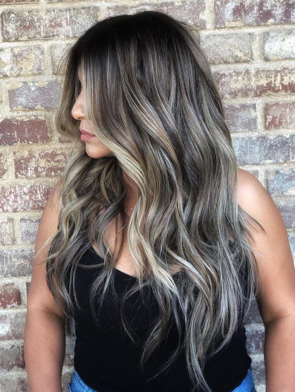50 Pretty Ideas Of Silver Highlights To Try Asap Hair Adviser In 2020 Dark Hair With Highlights Blonde Highlights On Dark Hair Ash Blonde Highlights On Dark Hair