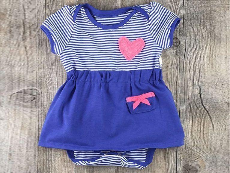 DIY-Anleitung: Jersey-Babykleid mit Puffärmelchen nach Schnittmuster ...