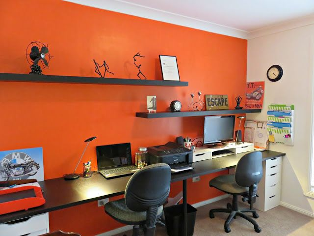 Jannimary orange home office for two ikea hack organisation