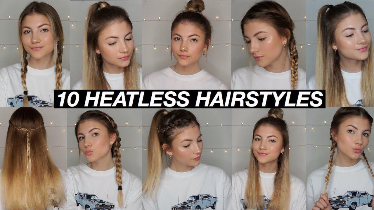 10 Easy Back To School Heatless Hairstyles Youtube Heatless Hairstyles Quick Hairstyles For School Hair Styles