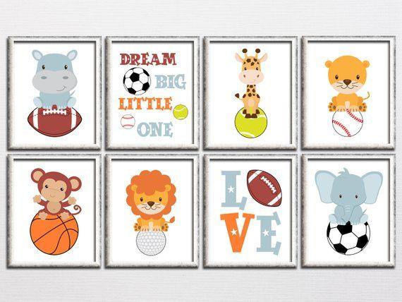Sports Nursery Printable Art Set With Animals Boy Room