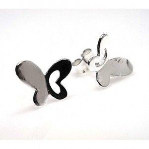 Pendientes de plata de primera ley con forma de mariposa de 9 mm de largo y 1 cm de ancho y cierre de presión