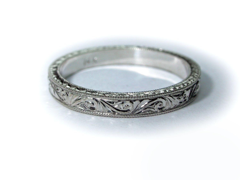 Hand Engraved 14k White Gold Wedding Band / Ring 2.5 mm width. Bridal. Engagement.. $399.00, via Etsy.