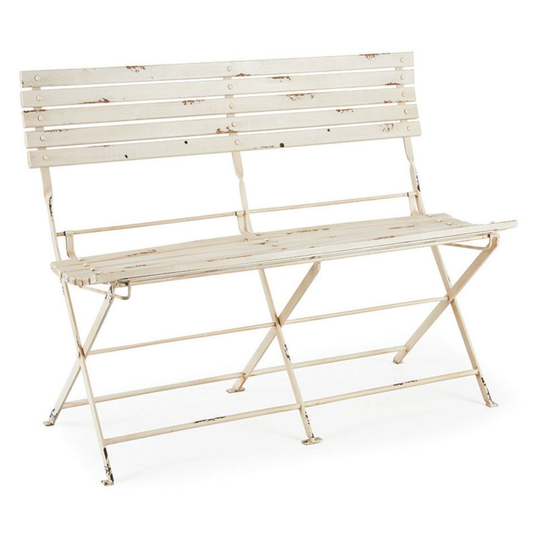 Outdoor Napa Home and Garden Bistro 50 in. Metal Folding Garden Bench in Distressed White - KN212