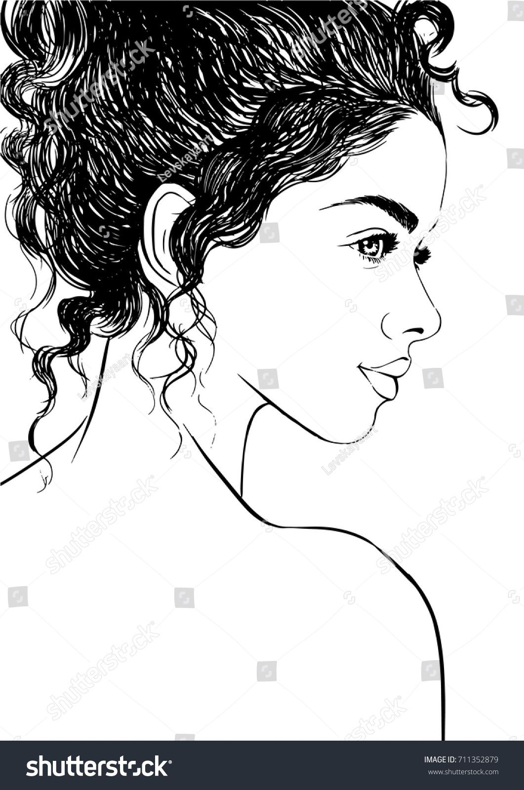 Fashion Illustration Of Cute Girl With Curly Hair With Images