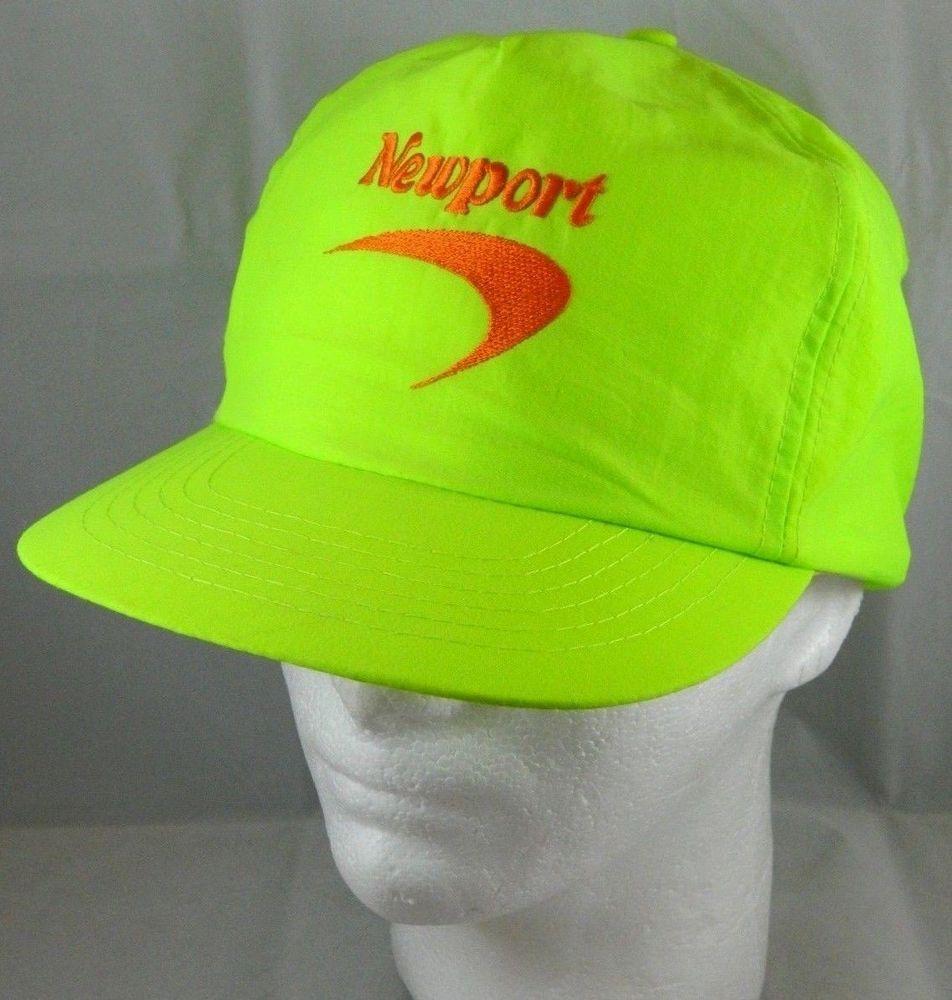 e28f1424c82d7f Newport cigarette NEON LIME GREEN vintage 80's Snapback hat Advertising Dad  Cap #NewPort #DadHat