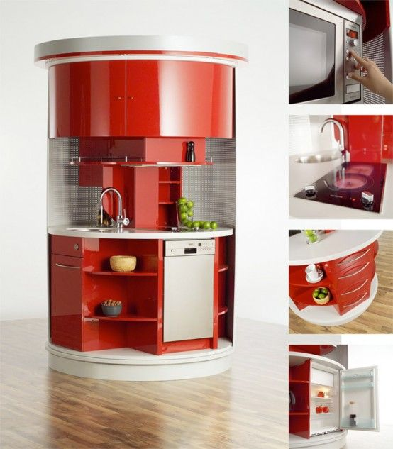 Small Space Living Area  Futuristic Red White Round Kitchen Magnificent Small Space Kitchen Living Room Design Design Decoration