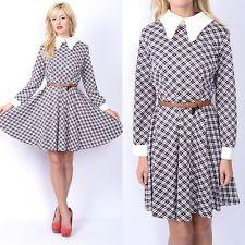 Vtg 60s Blue tartan Plaid Mini Dress Mod Full Circle Peter Pan Collar secretary