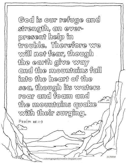 Coloring Pages For Kids By Mr Adron Printable Page Psalm 46 1 3 God Is Our Refuge See More At My