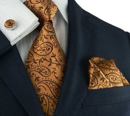 7bdea74dd75c Landisun 96C Bronze COPPER Paisleys Mens Silk Tie Set only with a vest