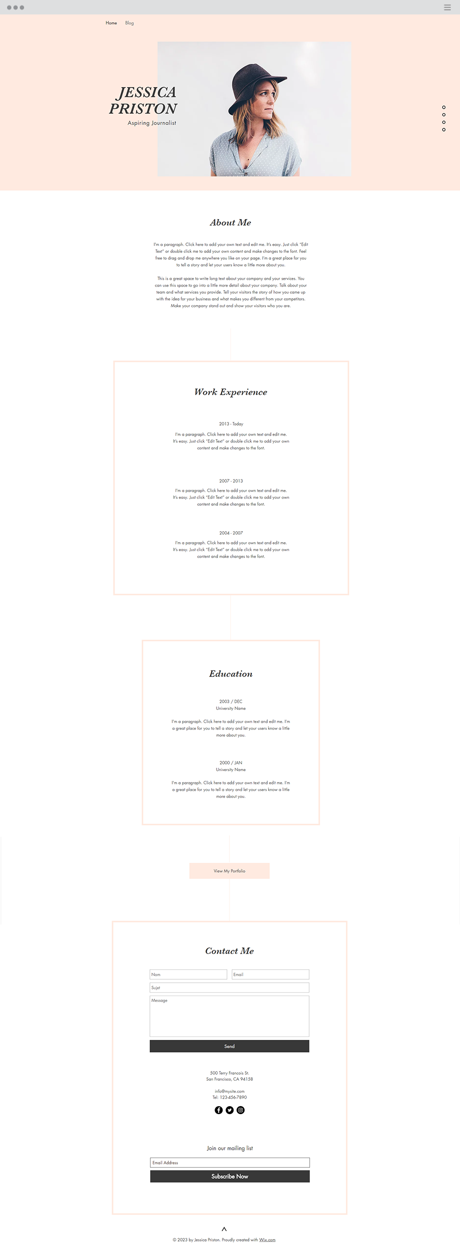 Journalist Cv Website Template  Wix Website Templates