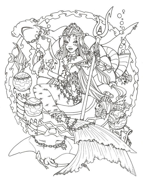Mermaid empress by valeriegallery deviantart coloring Mermaid coloring book for adults