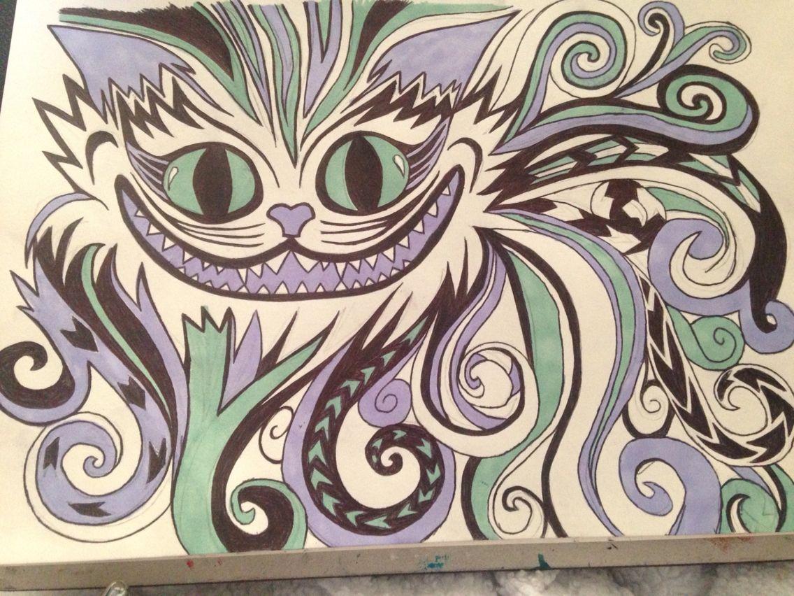 Alice in wonderland cheshire cat art swirly abstract art ...