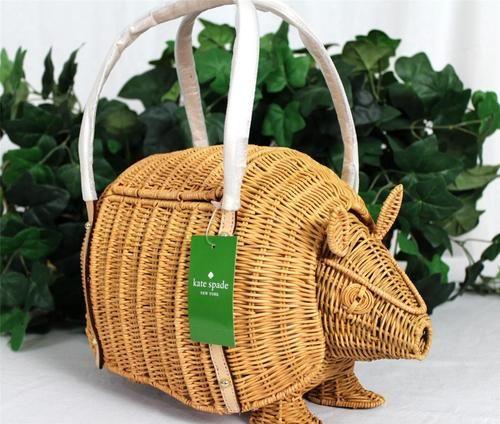 Kate Spade Armadillo Wicker Leather Handbag Tote Bag Purse | eBay