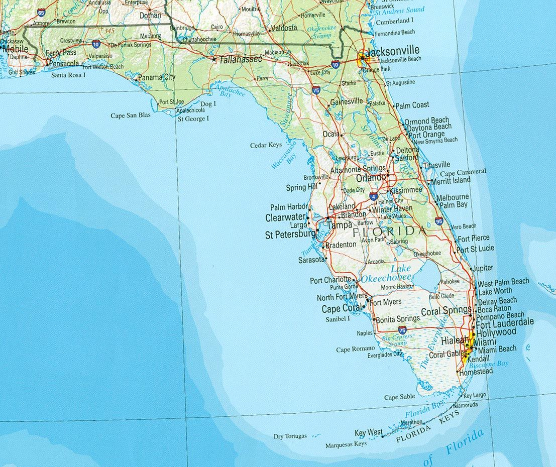 Drive The Perimeter Of Florida In One Trip Did It Cross This - Map usa beaches