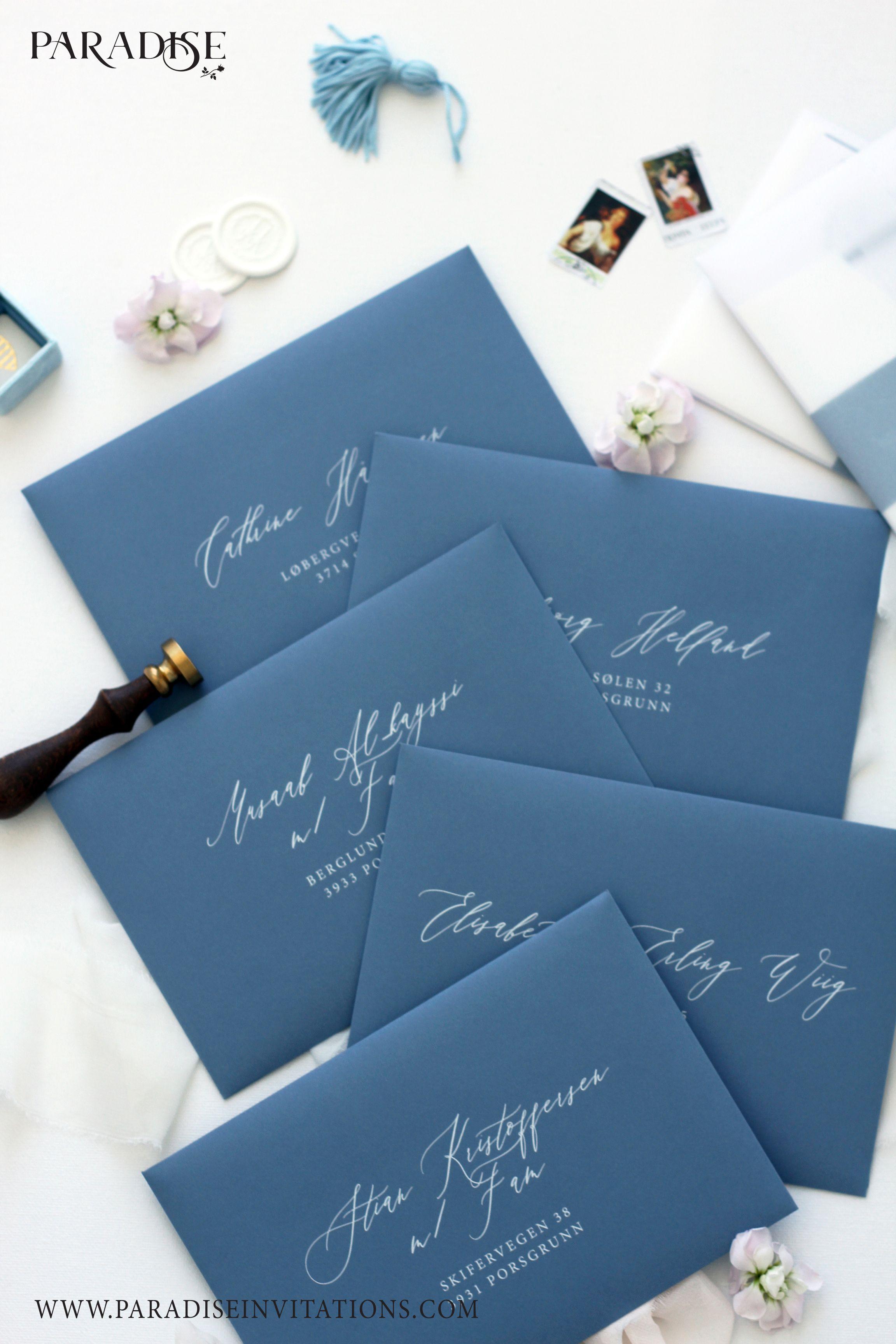 Elegant Dusty Blue Envelopes Wedding Stationery Weddingstationery Envelope Wedding Invitation Envelopes Classy Wedding Invitations Blue Wedding Invitations