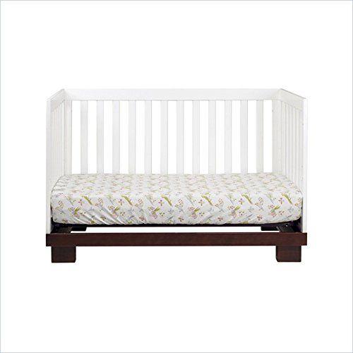 3 In 1 Convertible Wood Crib In Two Tone White Espresso Free