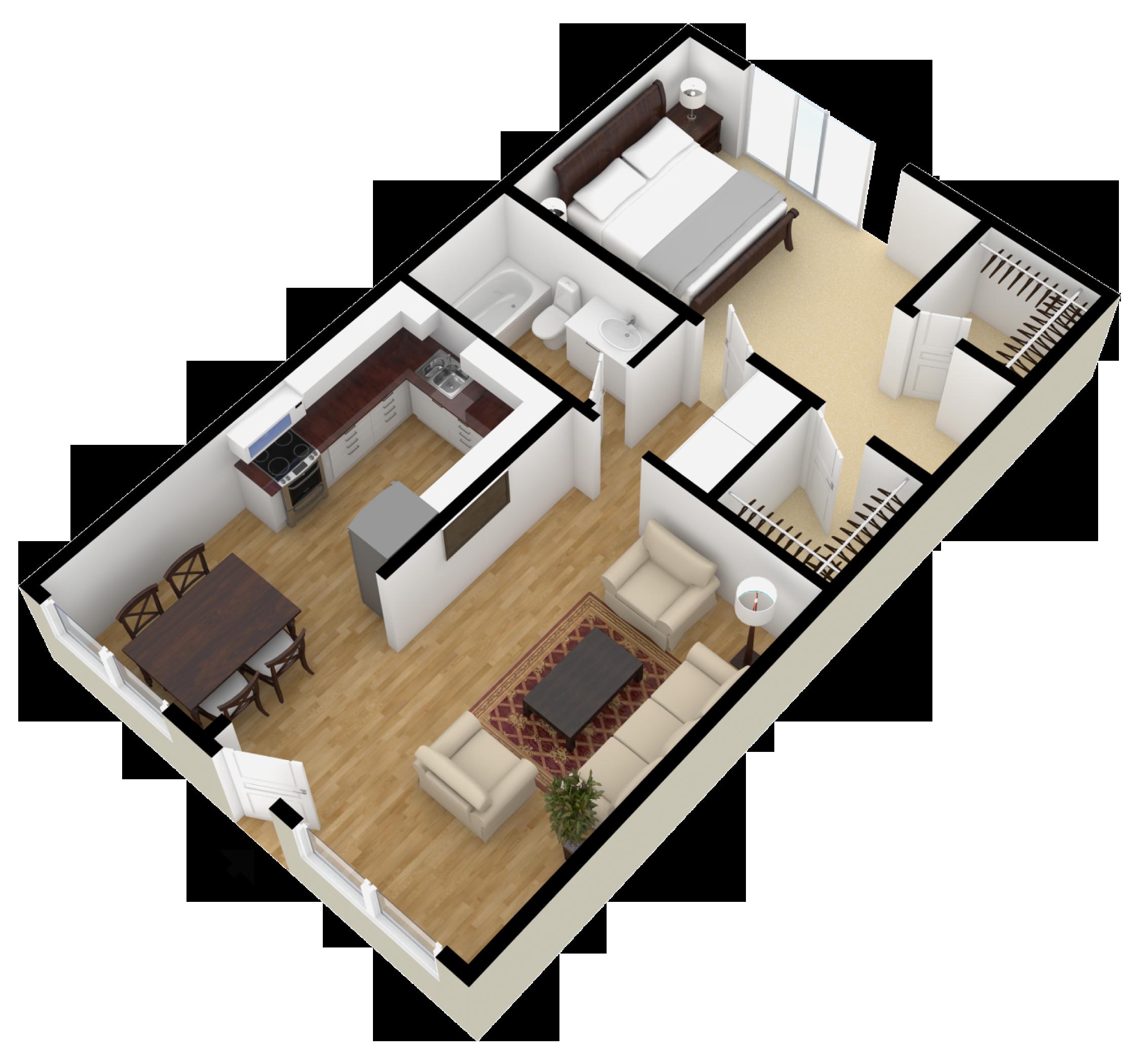 1 BR/1BA Diseño casas pequeñas, Interiores de casas