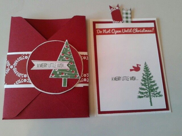 Envelope christmas card. Festival of trees stamping up. Cherry cobbler and garden green.
