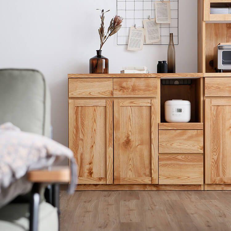 カウンターボードの食器棚 キッチン収納 幅120cm キッチンボード 国産
