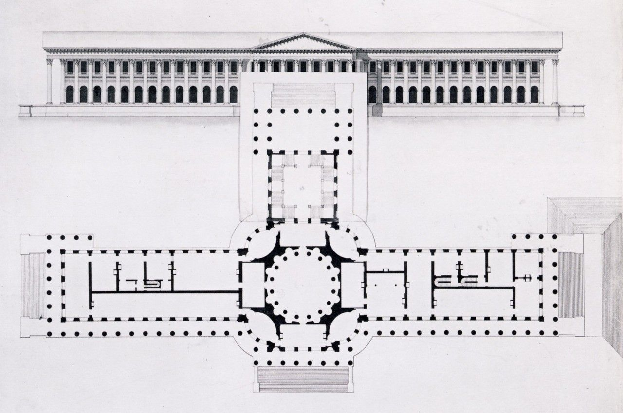 Plans For A Grand Neoclassical Palace For King Gustav Iii Of Sweden Outside Stockholm Not Executed Louis Jean Desprez Architecture Details Castle Blueprints