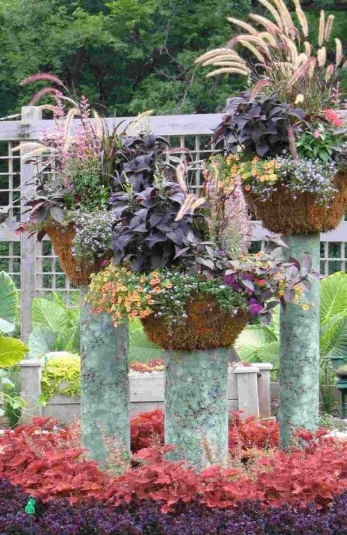 plants on pedestals