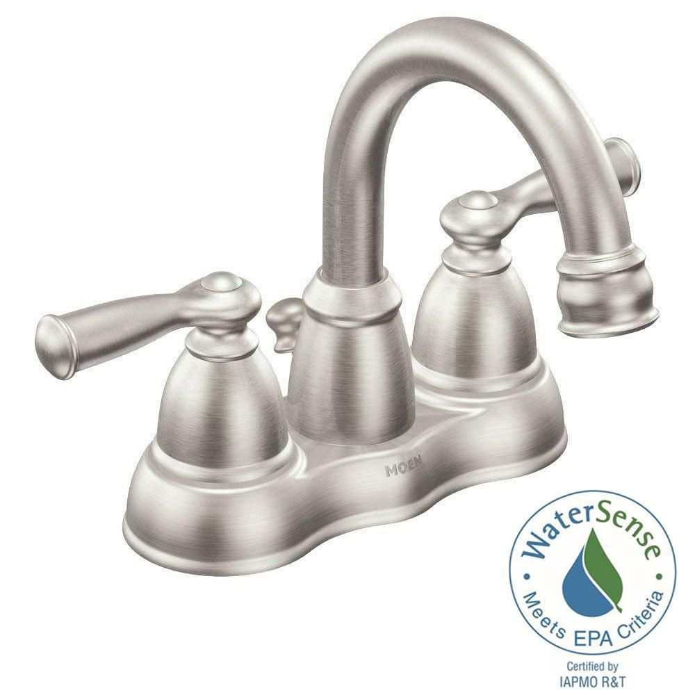 Moen Banbury 4 In Centerset 2 Handle Bathroom Faucet In Spot Resist Brushed Nickel Ws84913srn The Home De Bathroom Faucets High Arc Bathroom Faucet Faucet