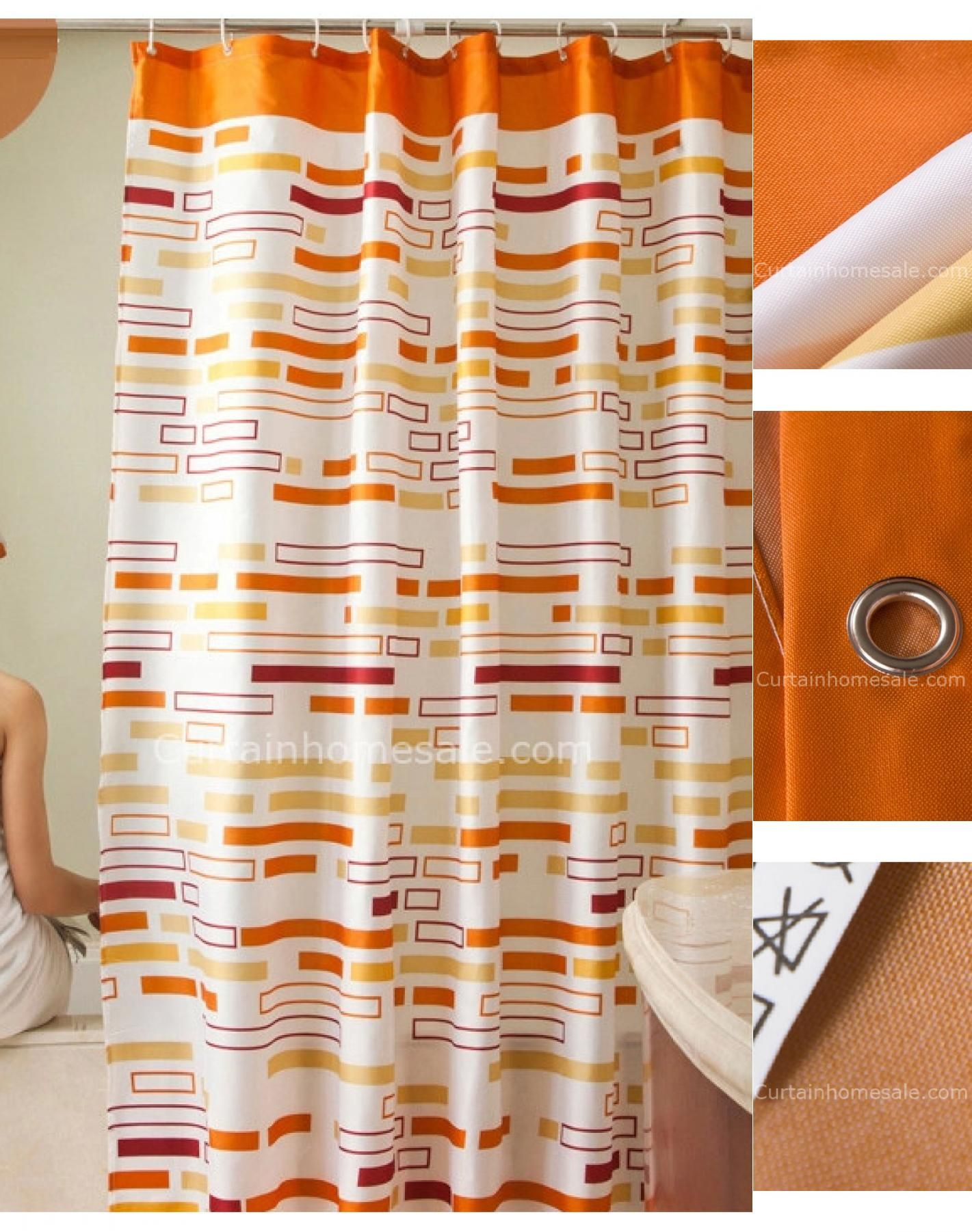 Fancy Orange Color Geometric Print Fun Shower Curtain With Images