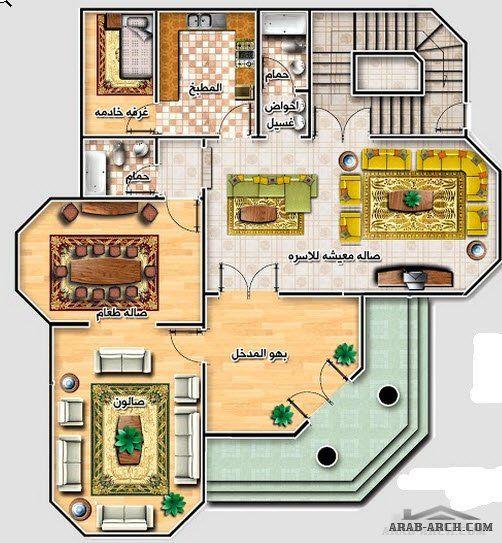 خريطة فيلا رائعه صغيرة المساحه مخطط الدور 150 متر مربع Square House Plans My House Plans Family House Plans