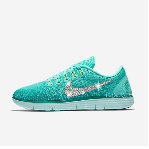 Womens Nike Free RN Distance Turquoise Custom Bling Crystal Swarovski  Sneakers 6219eace97