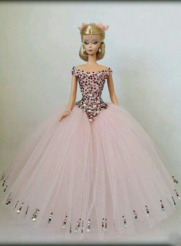 Pink Net Gown for Silkstone BArbie Doll | baby girl | Pinterest ...