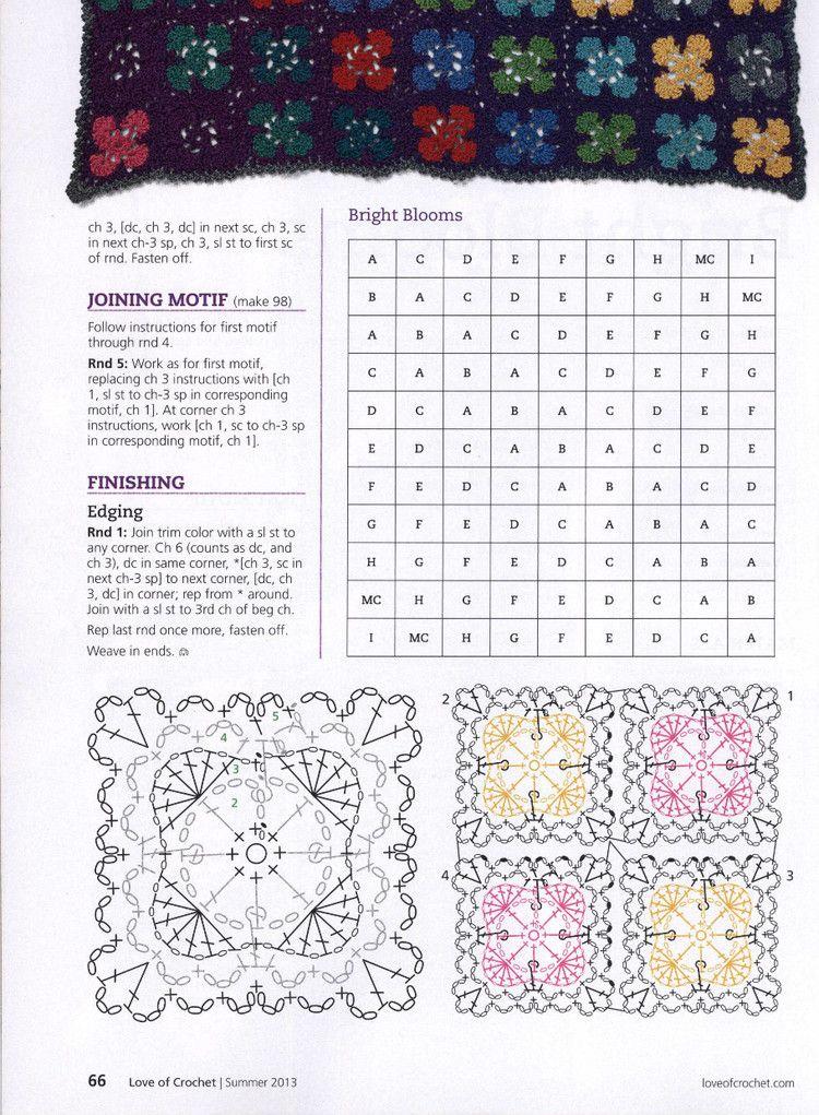 plaid noir avec fleurs | crochet chart | Pinterest | Ganchillo ...