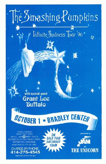 Concert poster for The Smashing Pumpkins at The Bradley Center in Milwaukee, WI in 1996. 11 x 17 on card stock.