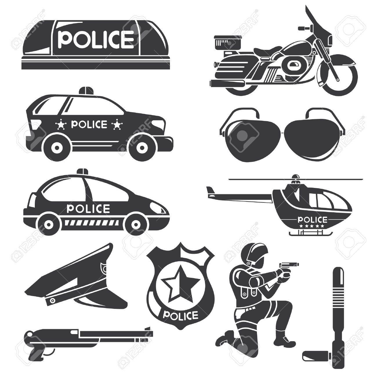 Iconos en blanco y negro de la polic a ilustraciones vectoriales