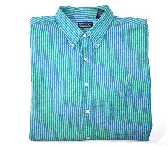 Vintage LL Bean Striped Mens Short Sleeve Shirt available at VintageMensGoods, $24.00