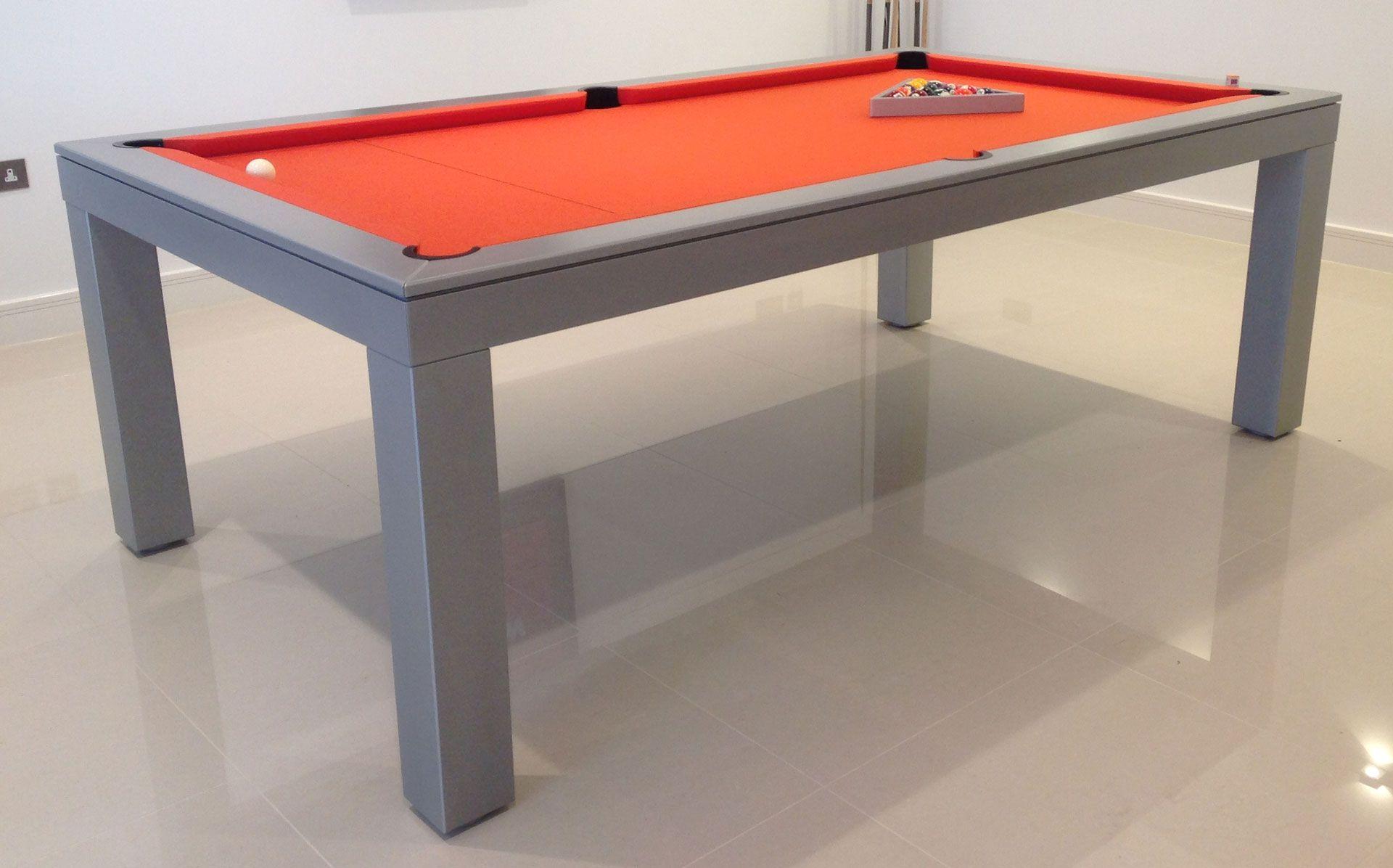 7 English Contemporary Pool Table In Oak Colour E21 With A Orange