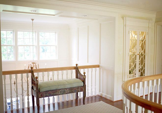 Upstairs Landing Paint Is Benjamin Moore Ivory White 925 Hardware P E Guerin Bench From Amy Howard Collection Upstairslanding Home Bunch S