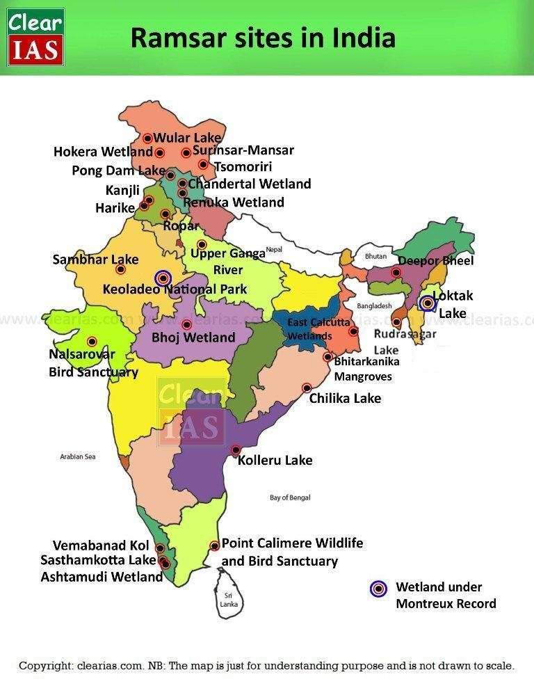 clear picture of indian map Ramsar Sites Wetlands In India Memorize Faster Geography Map clear picture of indian map